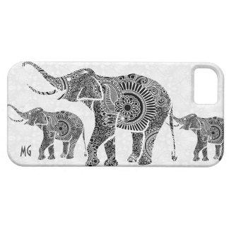 Elefante-Monograma floral del vintage negro y iPhone 5 Fundas
