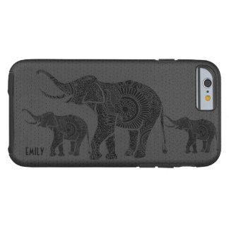 Elefante-Monograma floral grabado en relieve cuero Funda Para iPhone 6 Tough