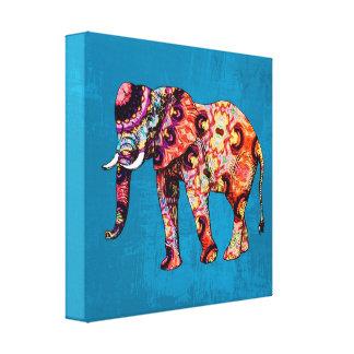 Elefante multicolor colorido en fondo azul lona envuelta para galerias
