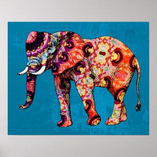 Elefante multicolor colorido en fondo azul póster