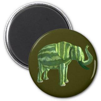 Elefante nacional del día de la sandía imán redondo 5 cm