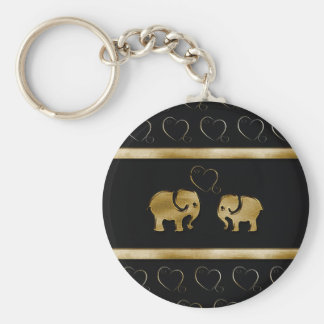 Elefante negro de lujo lindo de moda de /golden en llavero redondo tipo chapa