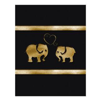 Elefante negro lindo de moda de /golden en amor membretes personalizados