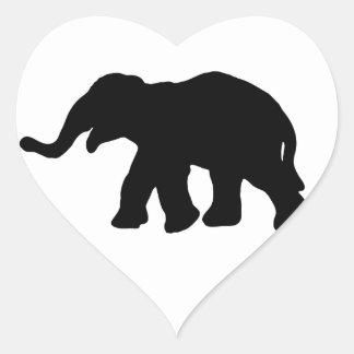 Elefante negro pegatina de corazon personalizadas
