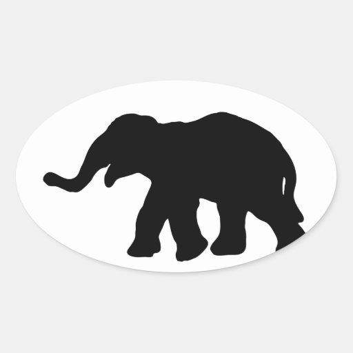 Elefante negro pegatina ovalada