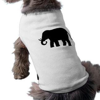 Elefante negro playera sin mangas para perro