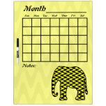 Elefante negro y amarillo del calendario del zigza tableros blancos