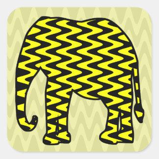 Elefante negro y amarillo del zigzag etiquetas