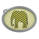 Elefante negro y amarillo del zigzag hebilla de cinturón