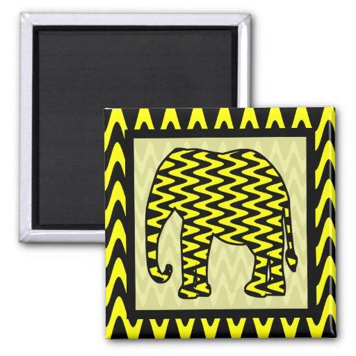 Elefante negro y amarillo del zigzag imán para frigorífico