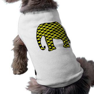 Elefante negro y amarillo del zigzag playera sin mangas para perro