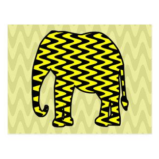 Elefante negro y amarillo del zigzag postales