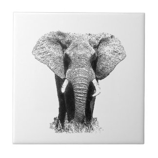 Elefante negro y blanco azulejo cuadrado pequeño