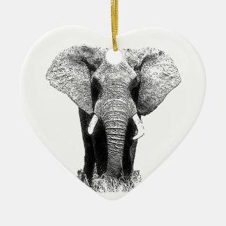 Elefante negro y blanco adorno de cerámica en forma de corazón