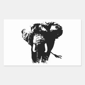 Elefante negro y blanco del arte pop pegatina rectangular