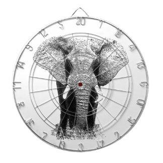 Elefante negro y blanco tabla dardos