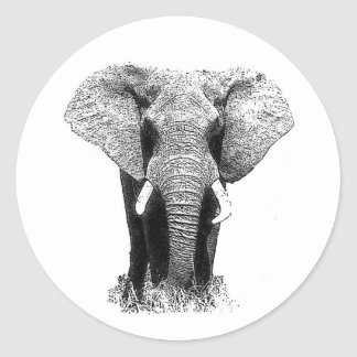 Elefante negro y blanco etiqueta redonda