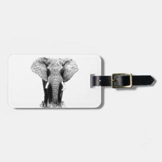 Elefante negro y blanco etiquetas de equipaje