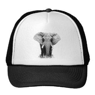 Elefante negro y blanco gorras de camionero