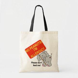 Elefante ningunos cacahuetes soy alérgico bolsas de mano