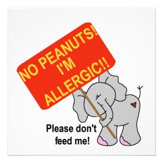 Elefante ningunos cacahuetes soy alérgico comunicado personalizado