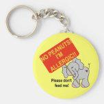 Elefante ningunos cacahuetes soy alérgico llaveros personalizados