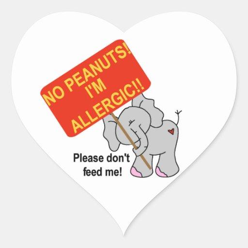 Elefante ningunos cacahuetes soy alérgico pegatinas corazon