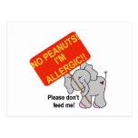 Elefante ningunos cacahuetes soy alérgico postal