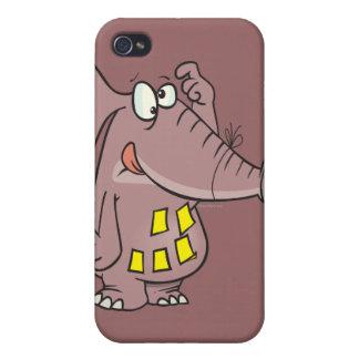 elefante olvidadizo divertido con las notas iPhone 4 fundas