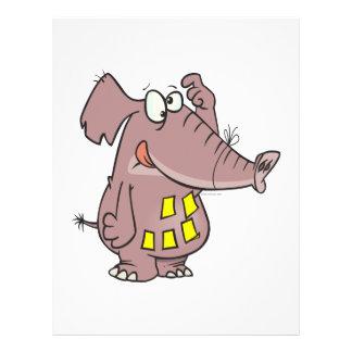 elefante olvidadizo divertido con las notas pegajo tarjetones