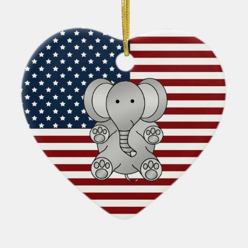 Elefante patriótico adornos