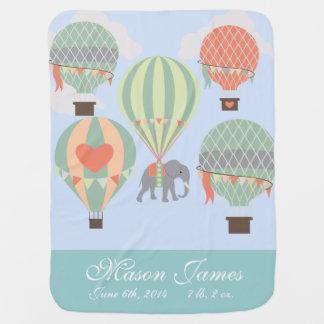 Elefante personalizado del globo del aire caliente manta de bebé