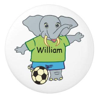 Elefante personalizado lindo del fútbol pomo de cerámica
