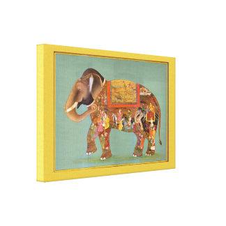 Elefante pintado multa floral hermosa del vintage impresión en lienzo estirada