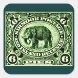 Elefante principesco indio de 1895 estados calcomanías cuadradas
