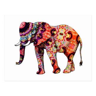 Elefante psicodélico colorido del art déco tarjeta postal