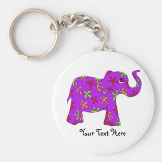 Elefante púrpura con el llavero colorido de las fl