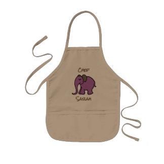 Elefante púrpura del dibujo animado del mini delantal infantil