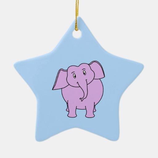 Elefante púrpura. Dibujo animado Ornamentos De Reyes