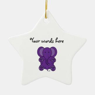 Elefante púrpura lindo ornamentos de navidad