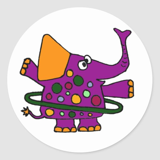 Elefante púrpura que juega el aro de Hula Pegatina Redonda