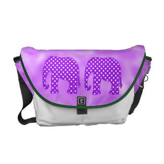 Elefante púrpura y blanco de los lunares bolsa de mensajería