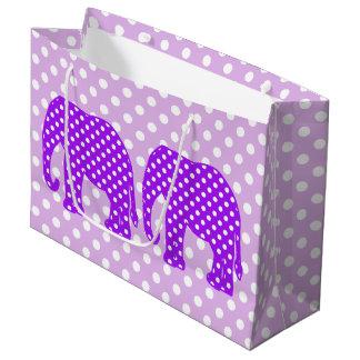 Elefante púrpura y blanco de los lunares bolsa de regalo grande