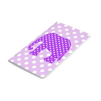 Elefante púrpura y blanco de los lunares cuadernos