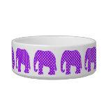 Elefante púrpura y blanco de los lunares bol para gato