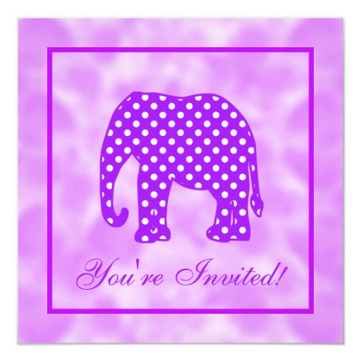 """Elefante púrpura y blanco de los lunares invitación 5.25"""" x 5.25"""""""