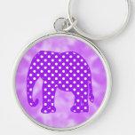 Elefante púrpura y blanco de los lunares llaveros
