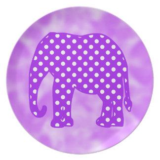 Elefante púrpura y blanco de los lunares plato de cena