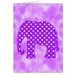 Elefante púrpura y blanco de los lunares felicitación
