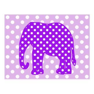 Elefante púrpura y blanco de los lunares postal
